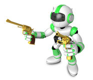The 3D Green Robot cowboy holding a revolver gun with both hands Royalty Free Stock Photos