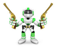 The 3D Green Robot cowboy holding a revolver gun with both hands Royalty Free Stock Image