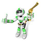 3D Green Robot cowboy the left hand best gesture and right hand Stock Image
