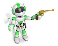 3D Green Robot cowboy the left hand best gesture and right hand Royalty Free Stock Photo
