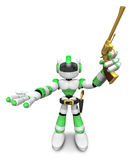 3D Green Robot cowboy the left hand guides and the right hand is Royalty Free Stock Photos