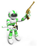 3D Green Robot cowboy the left hand guides and the right hand is Stock Photos