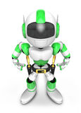 3D Green Robot cowboy is taking pose a gunfight. Create 3D Human Royalty Free Stock Photography