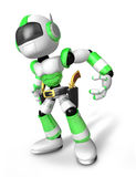 3D Green Robot cowboy is taking pose a gunfight Stock Photo