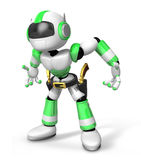 3D Green Robot cowboy is taking pose a gunfight Stock Images