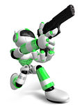 3D Green Robot fire an aimed shot a automatic pistol. Create 3D Stock Image
