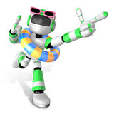 3d Green robot go on a waterside excursion Royalty Free Stock Photos