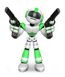 3D Green Robot Mascot holding a Automatic pistol with both hands Stock Images