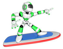 3D Green robot is riding a surf board to the Right. Create 3D Hu Stock Photo