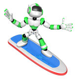 3D Green robot is riding a surf board to the Right. Create 3D Hu Royalty Free Stock Photos
