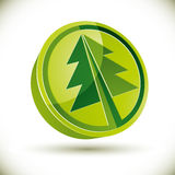 3d green round Christmas tree icon Royalty Free Stock Photos