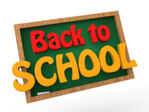 3d green school board with back to school text Royalty Free Stock Images