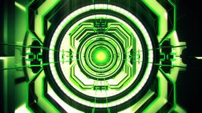 3D Green Sci-Fi Tech Tunnel Loopable Motion Background stock video footage