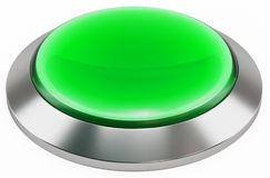 3d green shiny button. Round glass web icons with chrome frame Royalty Free Stock Photos