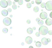 3D green soap bubbles. 3D rendering. Royalty Free Stock Image