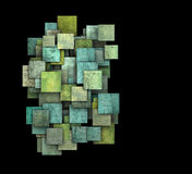 3d green square tile grunge pattern on black Royalty Free Stock Images