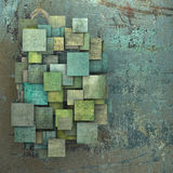 3d green square tile grunge pattern on blue grungy wall Stock Images