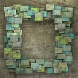3d green square tile grunge pattern on brown grungy wall Royalty Free Stock Photos