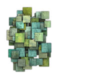 3d green square tile grunge pattern on white Stock Photos