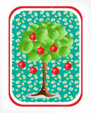 3d green tree with electical aplle bulbs Stock Images