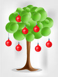 3d green tree with electical aplle bulbs. On bright background vector illustration