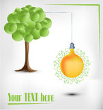 3d green tree with electical yellow bulb. 3d green tree with electical pear bulb on bright background stock illustration