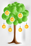 3d green tree with electical yellow pear bulbs. 3d green tree with electical pear bulbs on bright background royalty free illustration