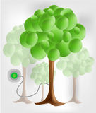 3d green tree with electrical socket. Bright background vector illustration