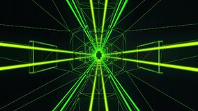 3D Green Tron Style Tunnel Loopable Motion Background stock footage