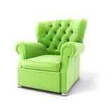 3d green velvet armchair Stock Photo