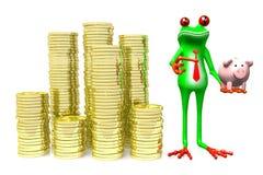 3D grenouille - concept de l'épargne Photographie stock