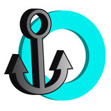 3D grey anchor with blue ring on white background. Vector illustration Royalty Free Stock Photo