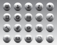 3d Grey Balls Stock Vector web and office icons in high resolution. Stock Photography
