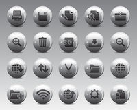 3d Grey Balls Stock Vector web and office icons in high resolution. Stock Photo