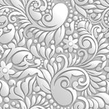 3D GREY bright seamless floral design pattern Royalty Free Stock Image
