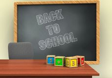 3d grey chalkboard. 3d illustration of grey chalkboard with back to school text and math cubes Stock Photography