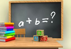 3d grey chalkboard. 3d illustration of grey chalkboard with math exercise text and abc cubes Stock Photos