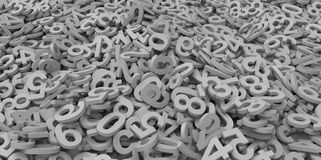 3D grey gray colour pile of alphabet matte letters on white background Stock Photography