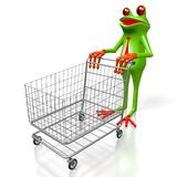 D-groda och shoppingvagn vektor illustrationer
