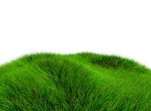 3D groene die heuvel van gras - over een witte achtergrond wordt geïsoleerd stock foto