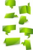 3d groene glanzende etiketten, markeringen, banners, bellen, bericht, kaart Royalty-vrije Stock Foto's