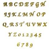 3D groene/gouden brieven/alfabet/aantallen Stock Afbeelding