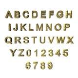 3D groene/gouden gevormde brieven/alfabet/aantallen Stock Foto's