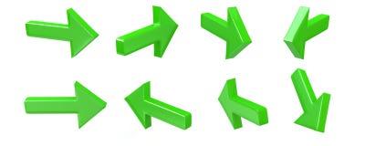3d groene reeks van het pijlpictogram Stock Foto's