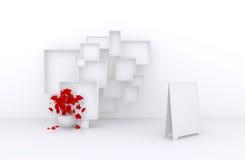 3d Grote Reeks Verkoopkaders met bloemen, Witte Dozen voor Verkoop (goederen, toebehoren, materiaal, enz. ) 4 3d geef terug Royalty-vrije Stock Fotografie