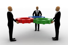 3d group of bald head men holding cogwheel as team. Concept front view Royalty Free Stock Image