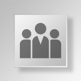 3D group Button Icon Concept Royalty Free Stock Photos