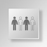 3D group Button Icon Concept Royalty Free Stock Photo