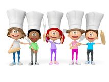 3D group of cooks Royalty Free Stock Photography