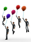 3d group of men flying with single colored balloon concept Royalty Free Stock Photography